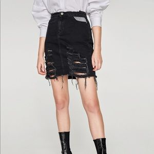 Zara Distressed Mini Skirt with Mesh Fishnet Waist